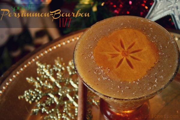 Spiced Persimmon-Bourbon Fizz {a boozy, boozy Christmas}