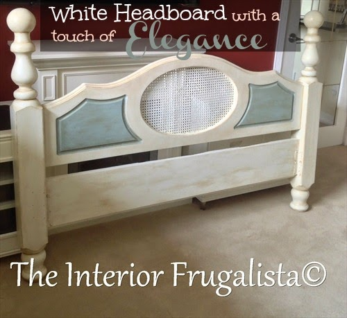 White caned back headboard after a makeover