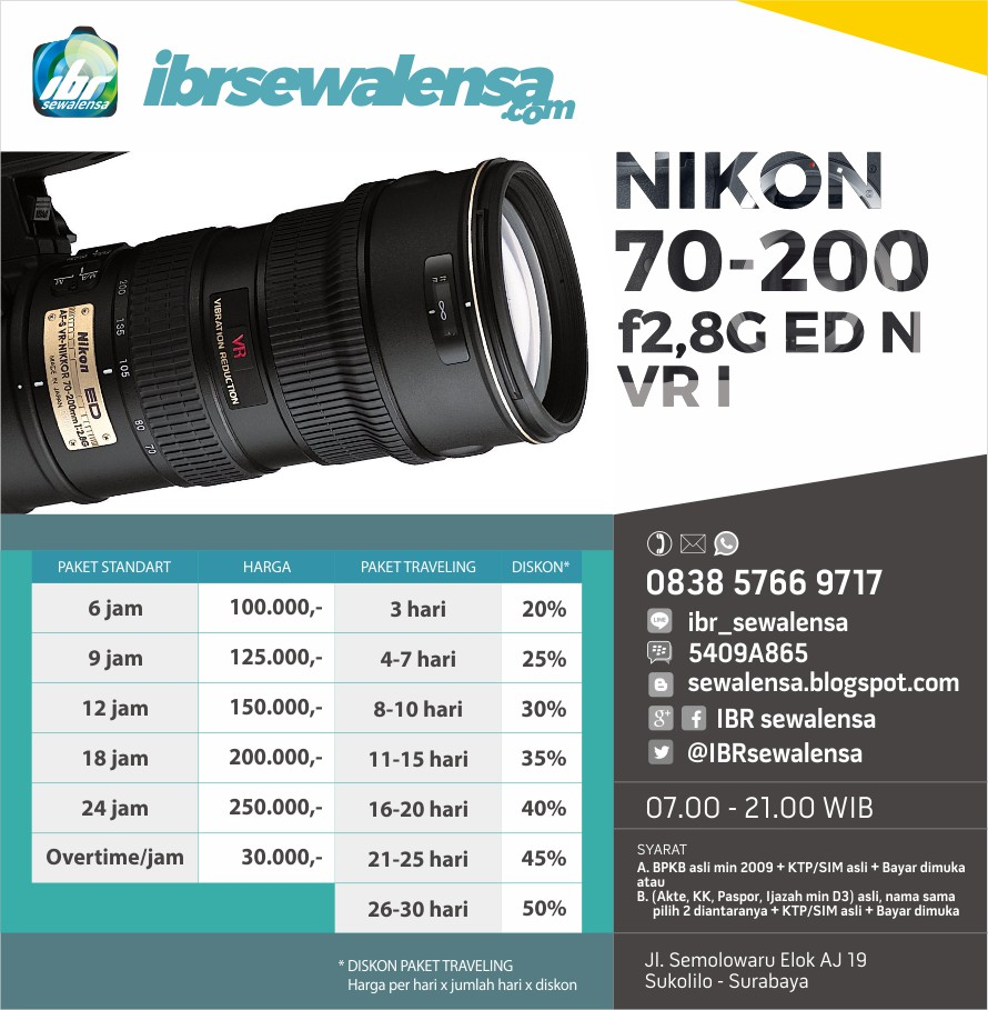 Nikon AF-S 70-200mm f2,8G ED VR I Harga Sewa Rental Lensa Kamera