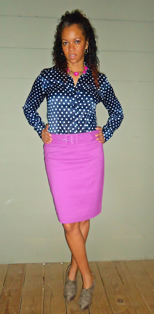 Poka Dot Blouse and Pink Skirt