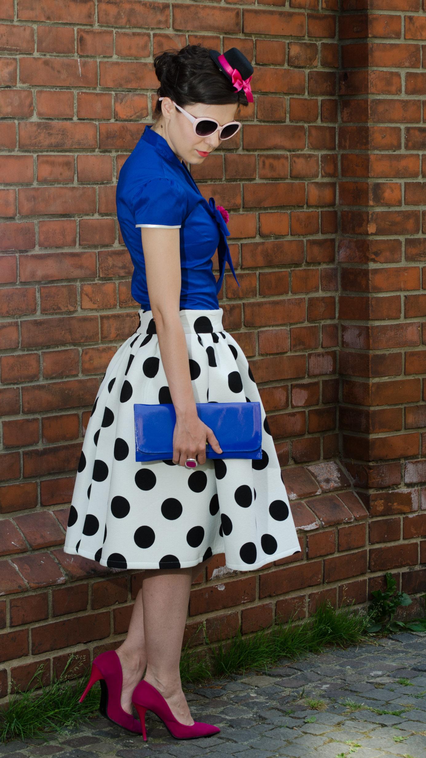 sheinside skirt big dots blue shirt fuchsia heels little topper hat clutch pink glasses wedding attire
