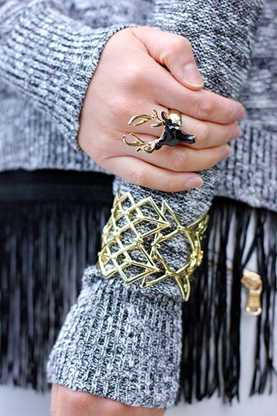Mouche Deer Ring with JewelMint Geo Mix Cuff