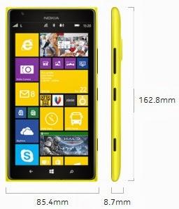Dimensi Nokia Lumia 1520