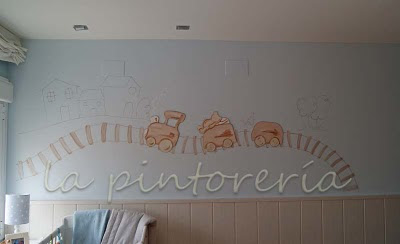 Des murs enchant s d coration chambre enfant avec peinture murale d 39 un train - Peinture murale chambre enfant ...