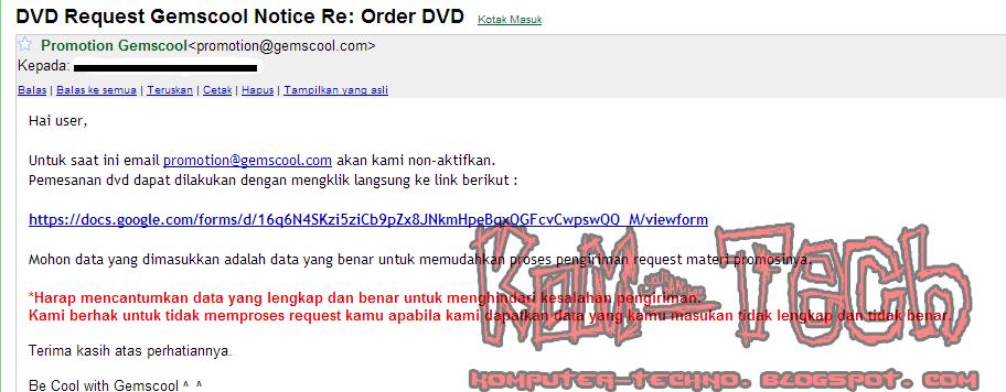 Balasan Order DVD Gemscool