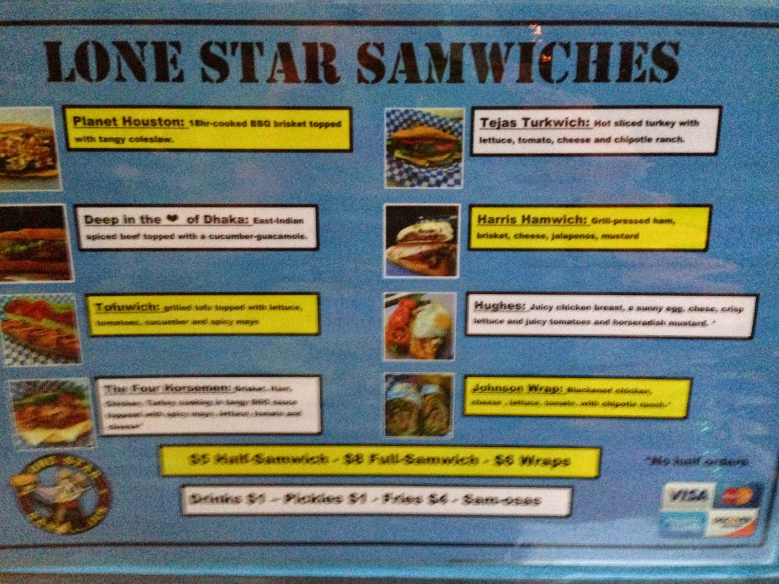 Lone Star Samwiches, Food Truck Menu