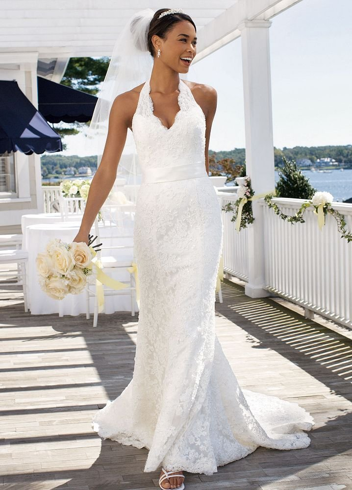Wedding Dress With Illusion Halter Neckline Style