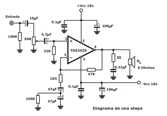 circuitos de amplificadores de audio  30w stereo economy