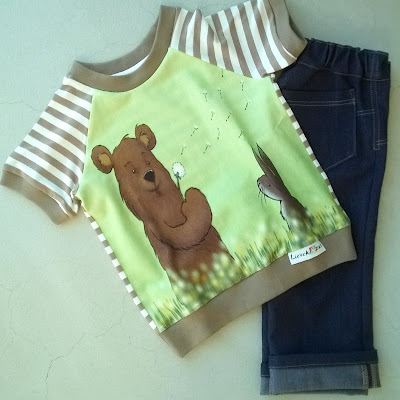 Dandelion bear Finch Fabric shirtje en tricot jeans babybroekje