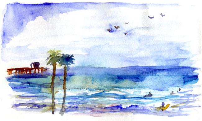 Shiho Nakaza San Diego West Coast Urban Sketchers Sketchcrawl San Diego watercolor train sketch Oceanside