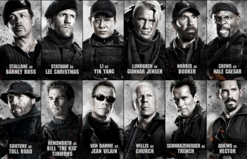 The cast of The Expendables 2, all-stars