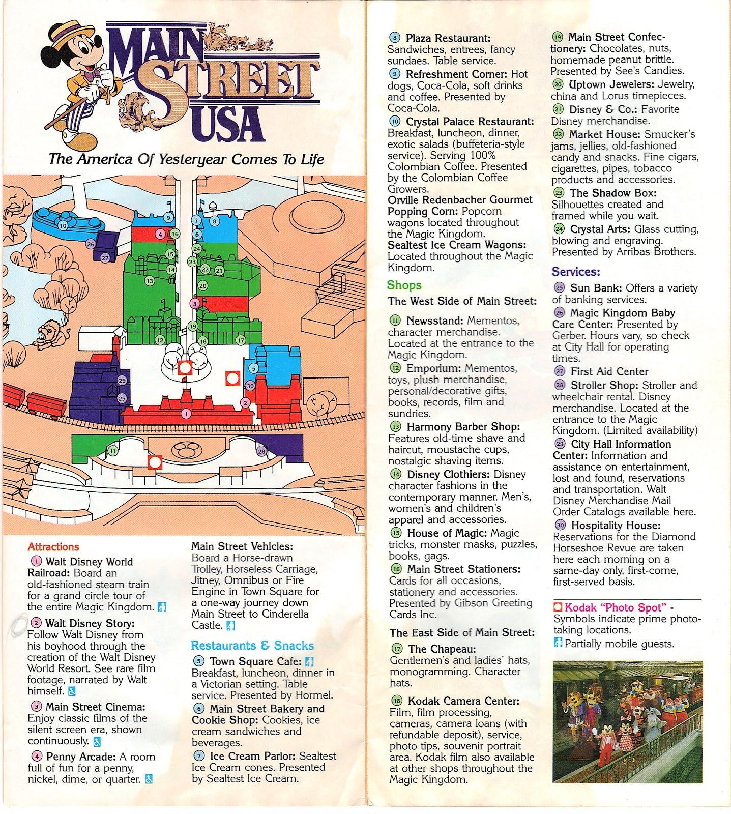 Magic Kingdom Park Map 1986