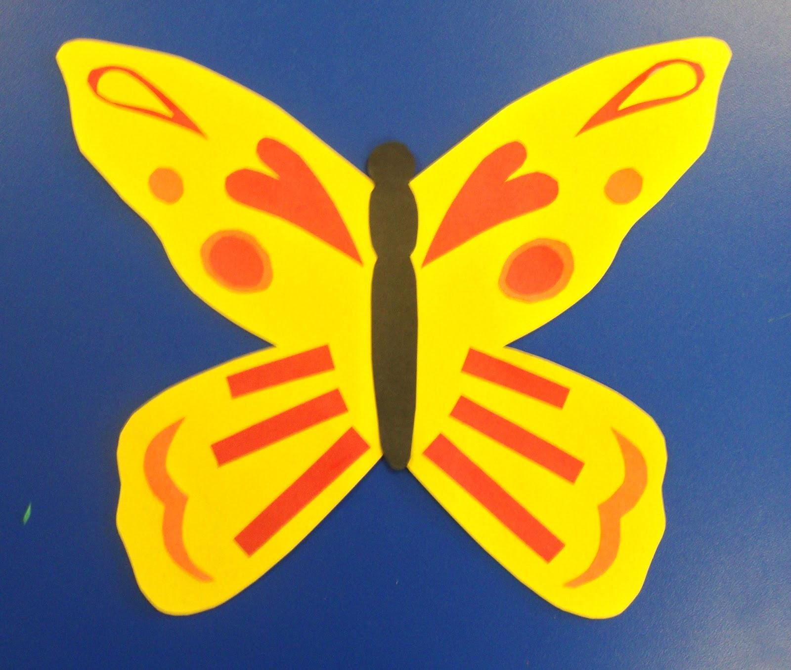 art paper scissors glue color theory butterflies