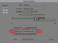 The Avid Quick Transitions dialog with Apply To All Transitions selected.