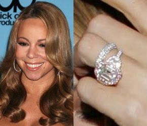 Mariah Carey received an exclusive Jacob and Co. 17-carat emerald cut  diamond worth £1,250,000 The 10-carat pink centre stone is surrounded by 58  pink ...