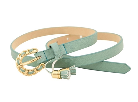 mint green slim belt