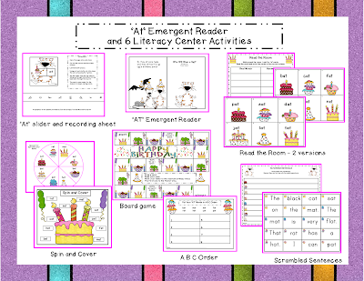 http://www.teacherspayteachers.com/Product/Emergent-Reader-AT-Family-and-6-Follow-up-Center-Activities-954197