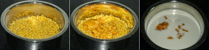 cook the chanadal, add jaggery and coconut milk