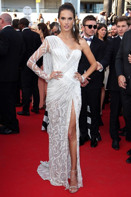 Alessandra Ambrosio wore an Atelier Versace gown with jewellery by Chopard and Stuart Weitzman heels at Cannes 2014