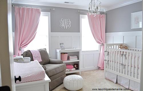Décoration chambre bébé fille rose et gris