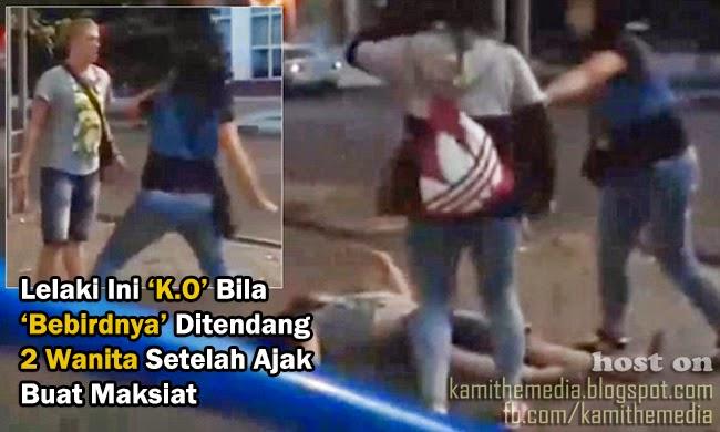 Rakaman Video Lelaki Malang Ditendang Dua Wanita Apabila Ajak Buat Maksiat