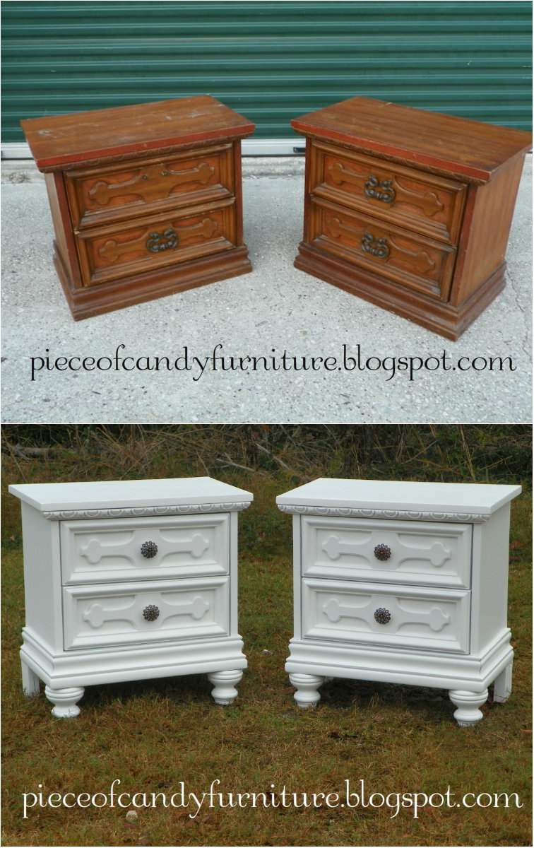 Piece of candy furniture custom painted white nightstands for How to make a nightstand higher
