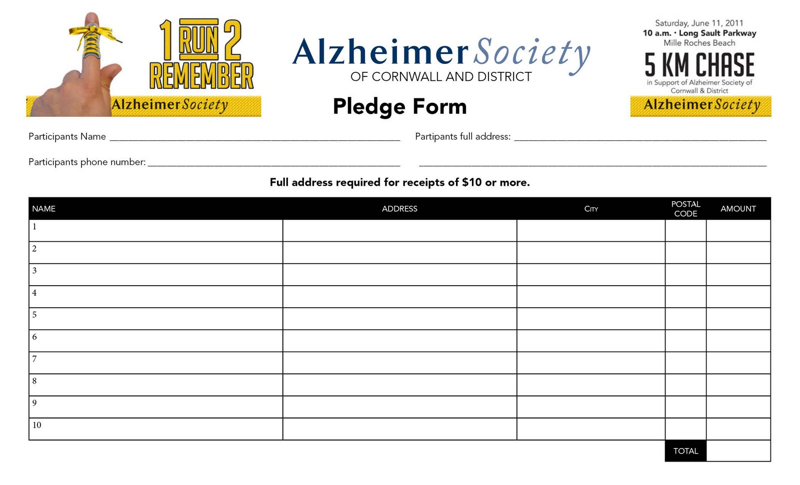 1 Run 2 Remember Pledge Form – Pledge Form