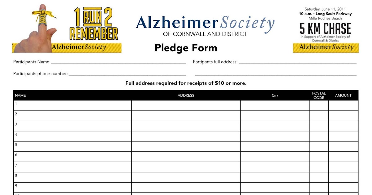 Run  Remember Pledge Form