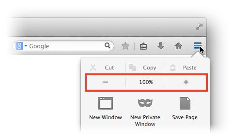 Schermata per aumentare zoom pagine su Firefox MAC