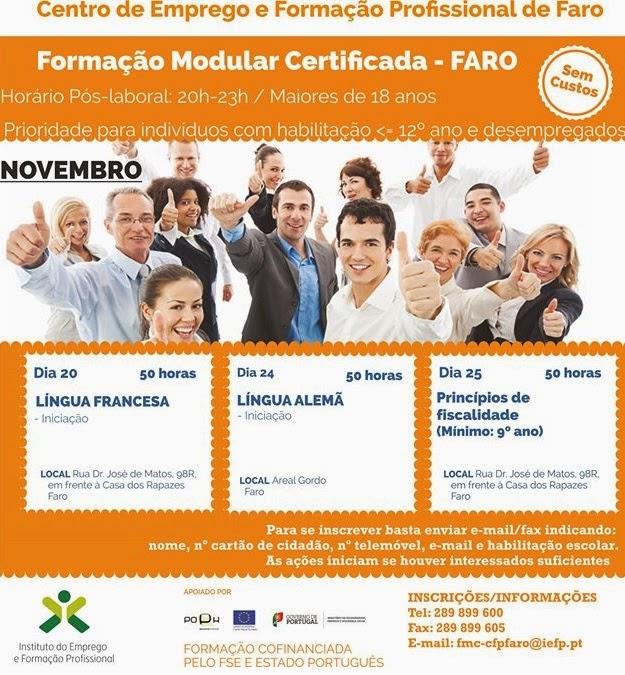 Cursos gratuitos de 50 horas em Faro (pós-laboral)