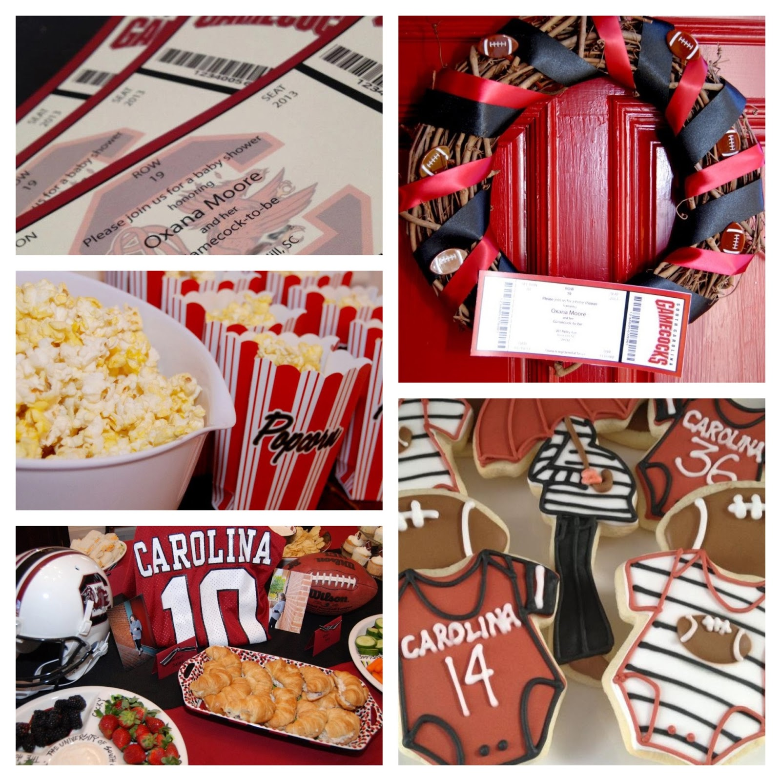 southern hostess gamecock football themed baby shower