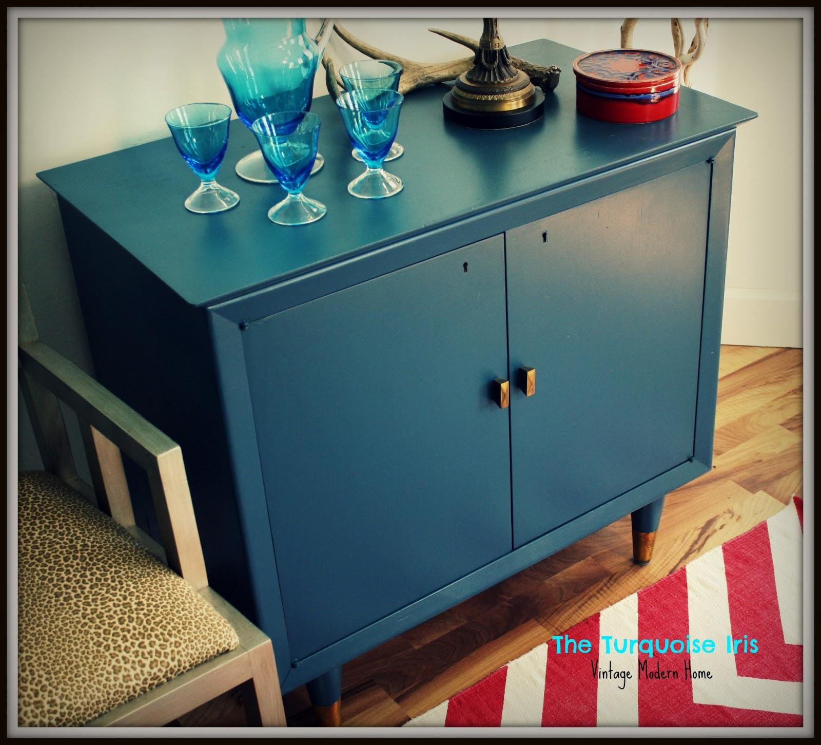 Mid Century Indigo Blue Mini Bar