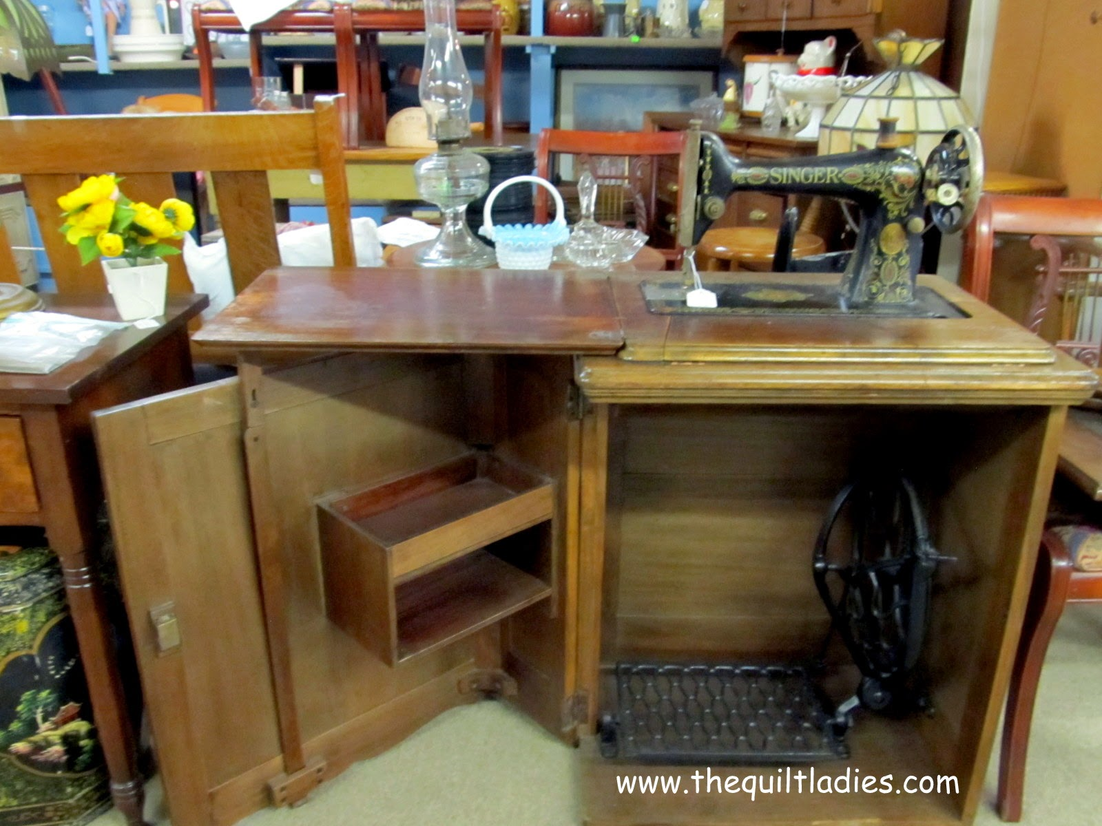 Little Singer Sewing Machine in cabinet