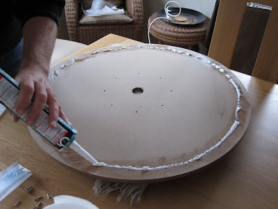 Crokinole - Applying the NoMoreNails to the inner board