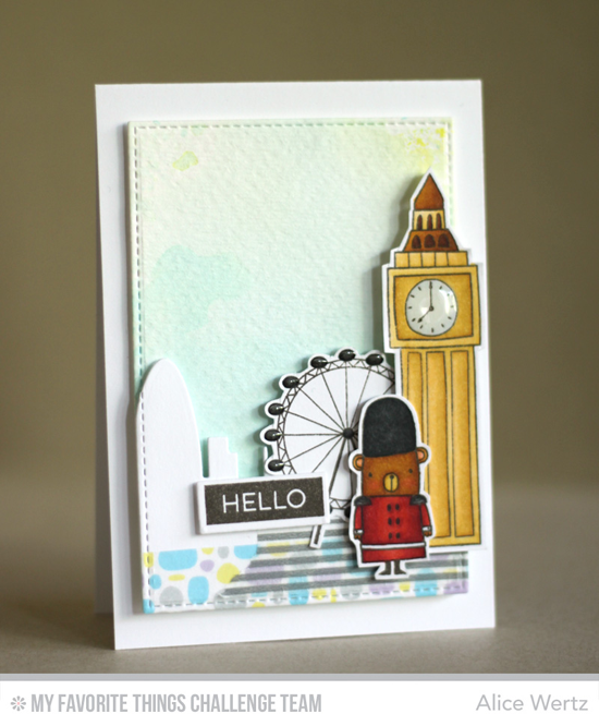 London Hello Card by Alice Wertz featuring the London Mouse and Label Maker Sentiments stamps sets and the London Skyline Die-namics #mftstamps
