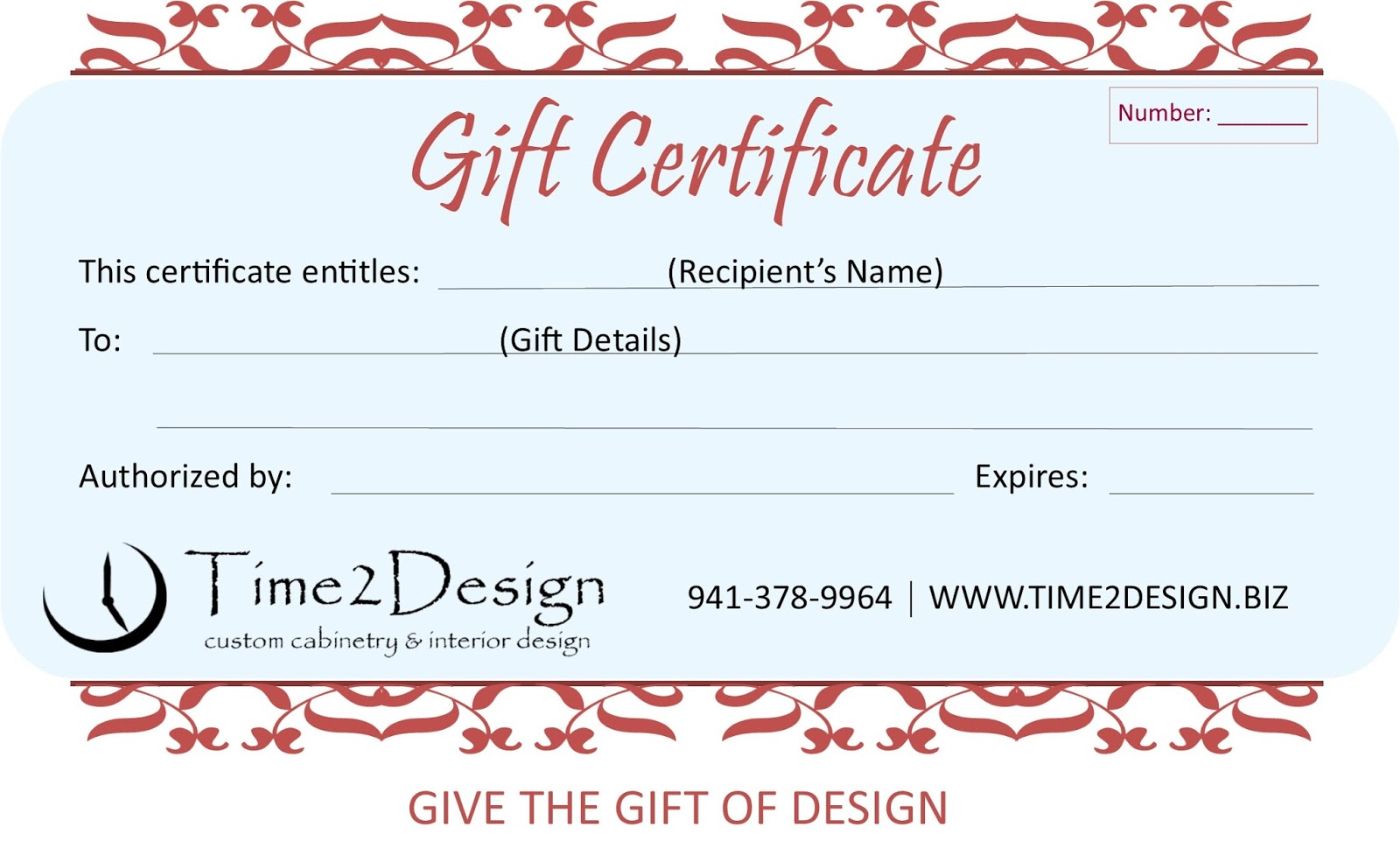 gift certificates give the gift of design