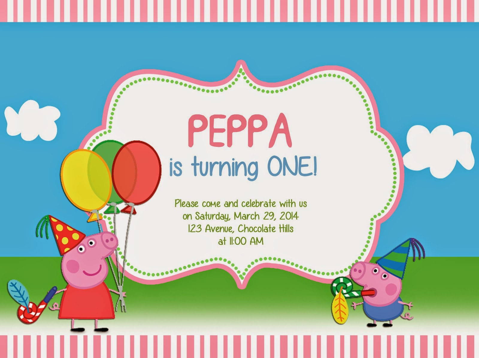 Peppa Pig Invitation  Free Templates For Invitations Birthday