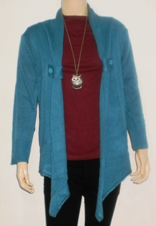 Model Atasan Cardigan Rajut Warna Biru