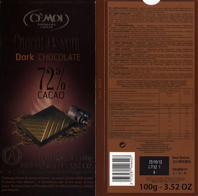 tablette de chocolat noir dégustation cémoi chocolat noir 72