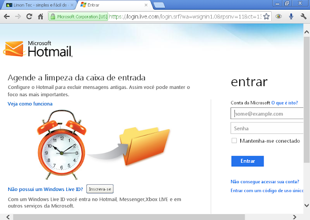 Hotmail - suposta interface Metro