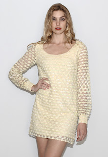 Vintage 1960's yellow lace long sleeved mini dolly dress with polka dot design.