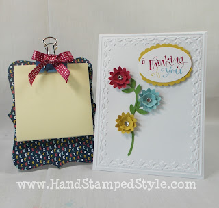 big shot, mini clip boards, post-it note clip board, 3-d flowers, punches, designer paper, pattern paper, gift set, simple cards, gifts