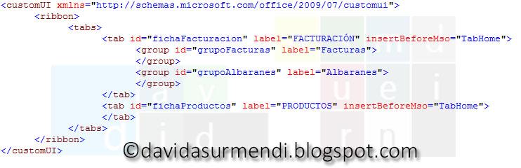 Código XML para definir un grupo de controles