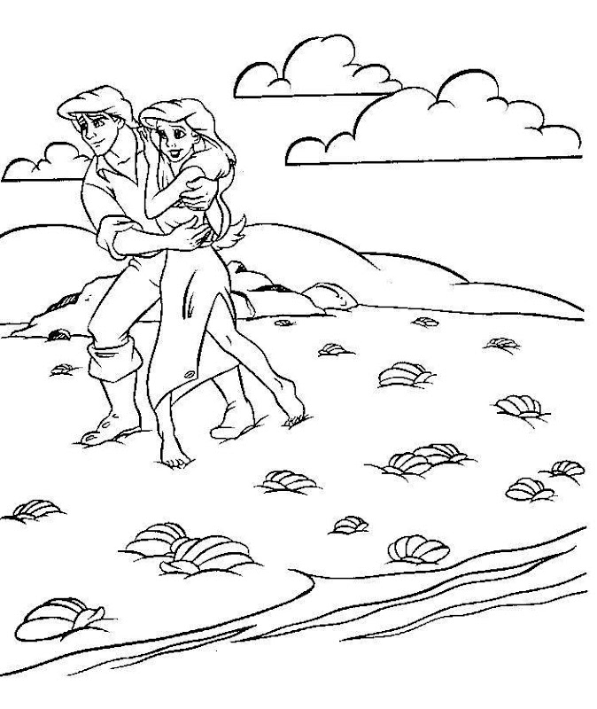 Disney coloring books ariel and prince eric coloring pages detailed