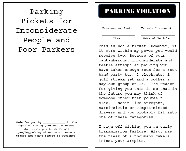 Printable Parking Tickets Parking ticket printables