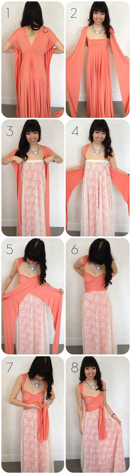 how to add lace to a convertible dress; Patterns/instructions on how to sew an infinity dress
