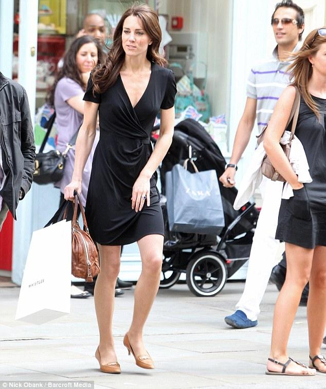 black issa wrap dress kate middleton shopping kings road pre wedding - Kate Middleton Pre Wedding