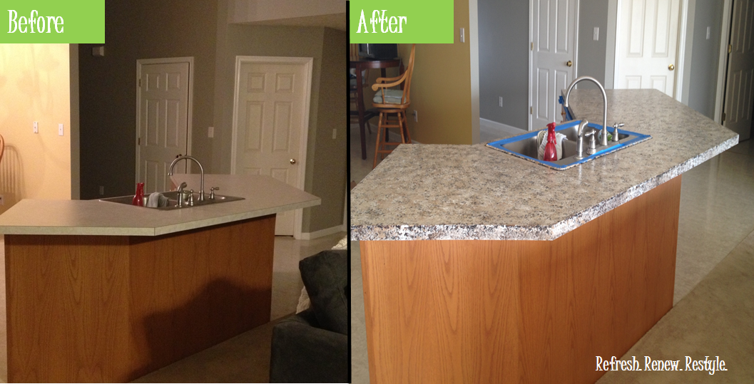 Painting Kitchen Countertops Before And After Of Refresh Renew Restyle Faux Granite Painted Countertops