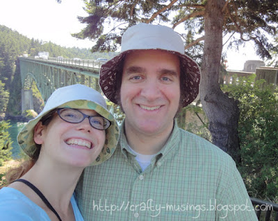 Hubby and I wearing our hats