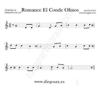 Romance el Conde Olinos partitura para flauta, violín, saxofón alto, trompeta, clarinete, soprano sax, tenor, oboe, corno inglés, barítono, trompa, fliscorno... en clave de Sol